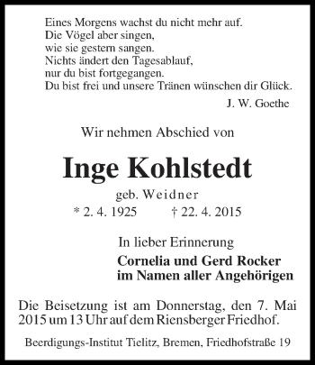 Zur Gedenkseite von Inge