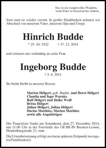 Zur Gedenkseite von Hinrich und Ingeborg