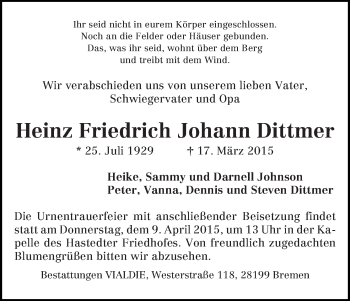 Zur Gedenkseite von Heinz Friedrich Johann
