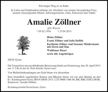 Zur Gedenkseite von Amalie