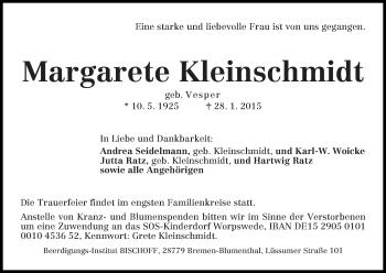 Zur Gedenkseite von Margarete