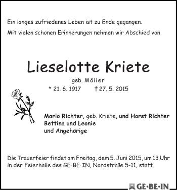 Zur Gedenkseite von Lieselotte