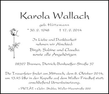 Zur Gedenkseite von Karola