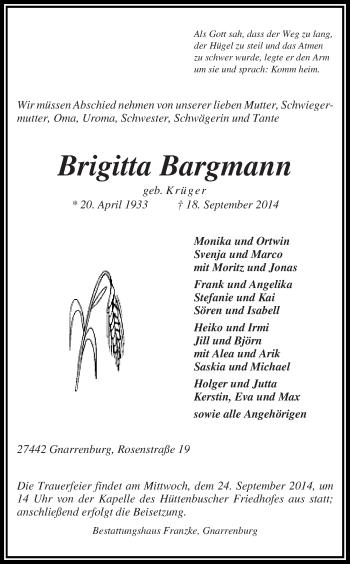 Zur Gedenkseite von Brigitta