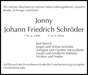 Zur Gedenkseite von Johann Friedrich (Jonny)