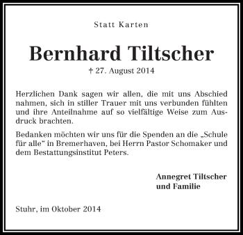Zur Gedenkseite von Bernhard